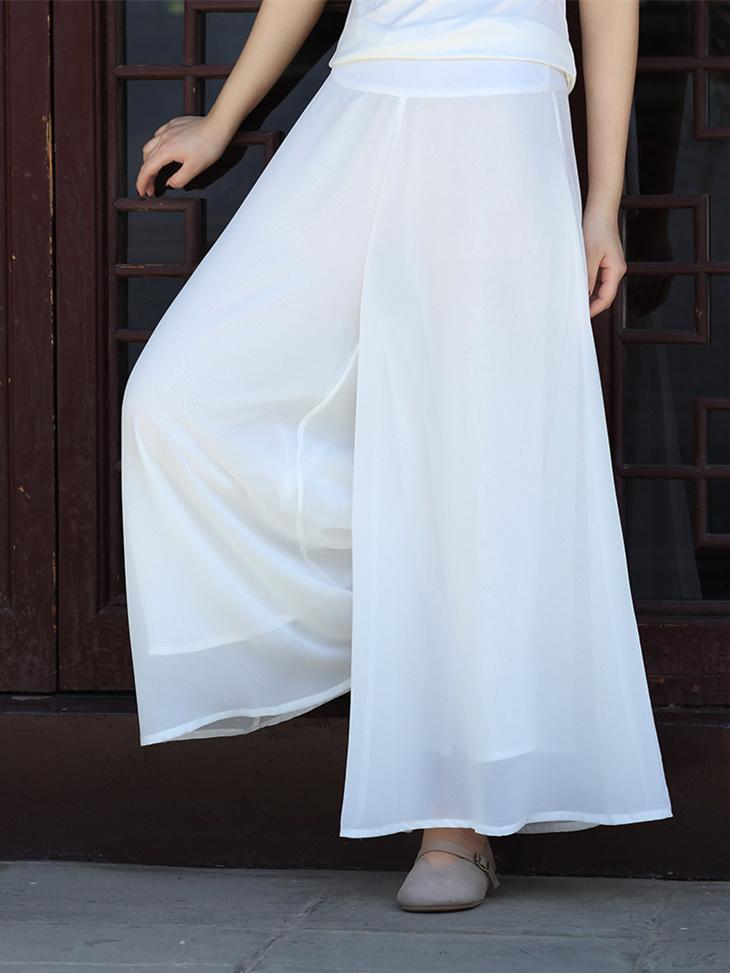 Simple Chiffon Solid Color Wide Leg Bottom Casual Pants