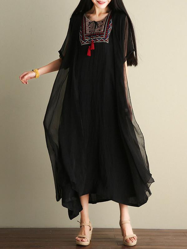 Casual Inwrought Printed Round Neck Short Sleeve Beach Maxi Dress