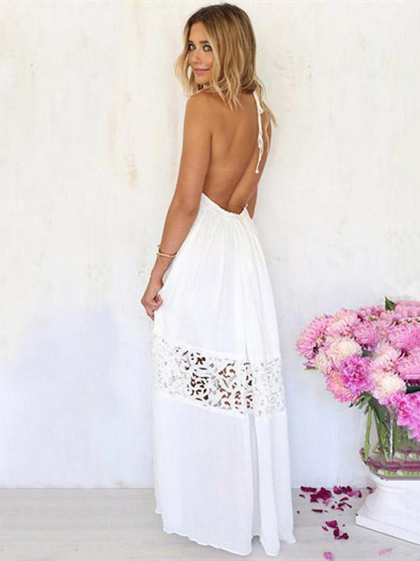 Lace Split-joint Halterneck Maxi Dress