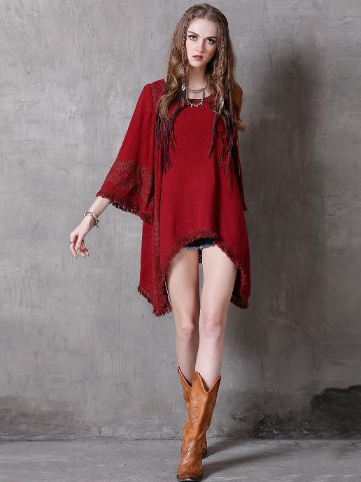 Asymmetric Embroidered Tasseled Mini Dress