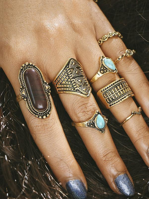 8PCS Vintage Turquoise Rings Accessories
