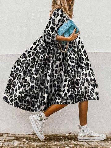Cozy Printed Short Sleeves Midi Dress