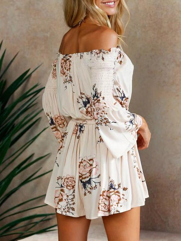 Bohemia Floral Off-the-shoulder Long Sleeves Romper
