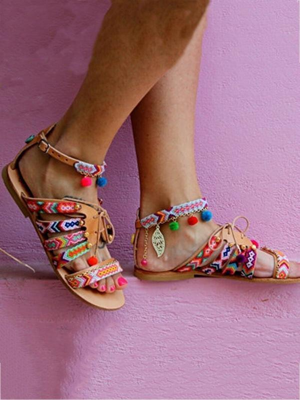 Bohemia Floral Pompoms & Leaf Decorated Beach Flat Sandals
