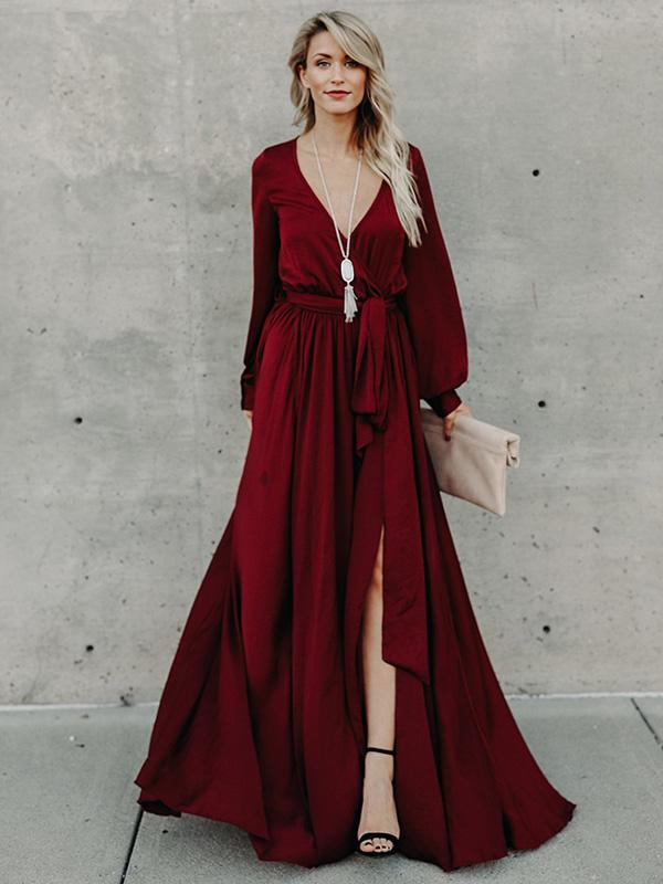 b8793442bb V-neck Long Sleeves Belted Maxi Dress – chicboho
