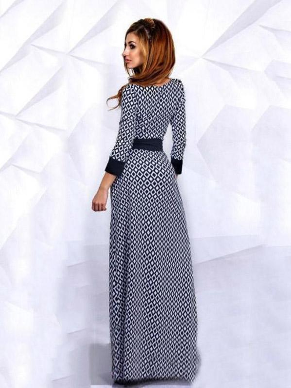 Pretty Long Sleeve Floor Maxi Dress