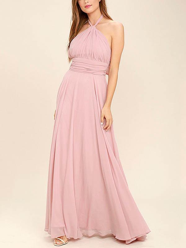 Halterneck Waisted Backless Ruffled Evening Dress