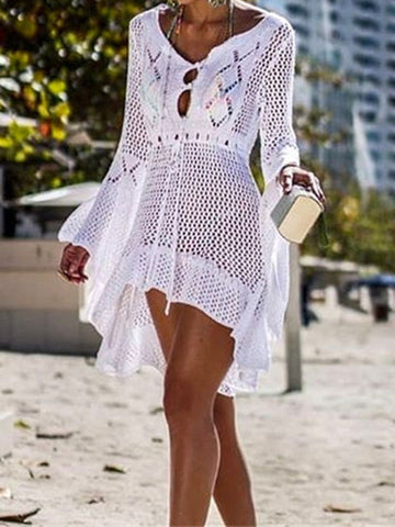 Hollow Long Sleeves One-piece Swimwear