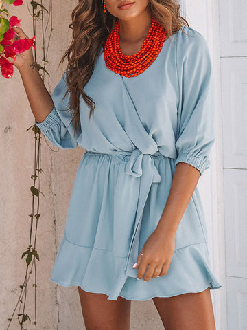 V-neck Puff Sleeves Blouses&Shirts Top
