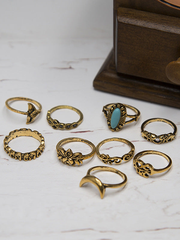 9PCS Turquoise Vintage Rings Accessories