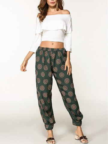 Fashion 2 Colors Elastic Waist Wide Leg Casual Pants