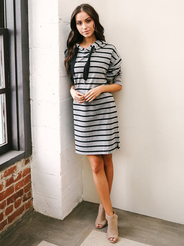 Striped Long Sleeves Hooded Midi Dress