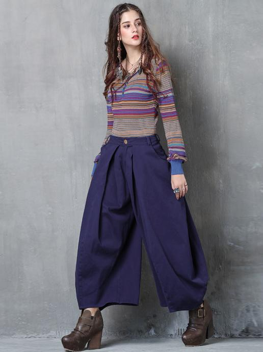Asymmetric Solid Color Wide Leg Casual Pants