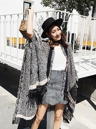Fashion Tassels With Pocket Cape Scarf