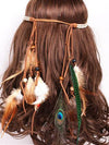 Indian Bohemia Tassels Feather Wooden Bead Headwear Accessories
