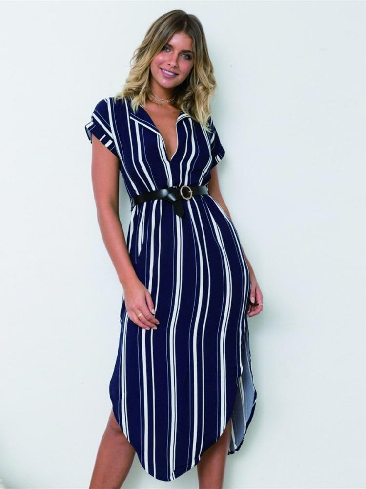 Striped Split-side V-neck Midi Dresses