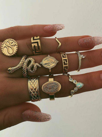 Fashion Hollow Geometry Moon Rings Accessories