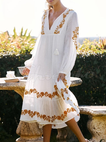 Vintage Embroidered Flare Sleeve Side Zip Dress