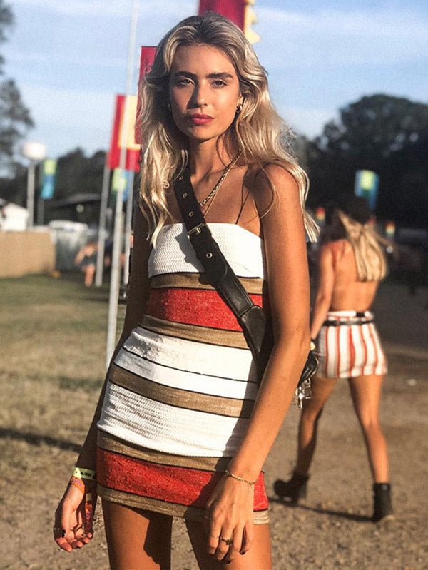 Spaghetti-neck Striped Mini Dress
