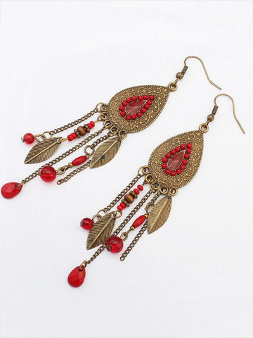 Bohemia Coffee Feather Earrings