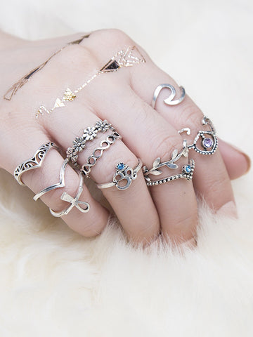 6pcs Vintage Hollow Rings Accessories