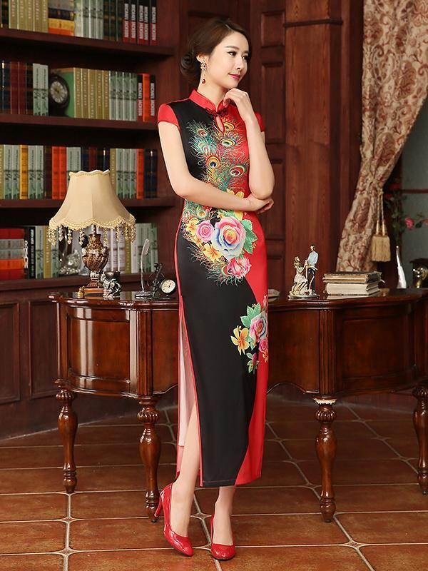 Fashion Printed Embroidery Cap Sleeve Side Split Long Cheongsam Dress