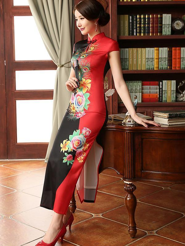 44d3be8bae9 Fashion Printed Embroidery Cap Sleeve Side Split Long Cheongsam Dress