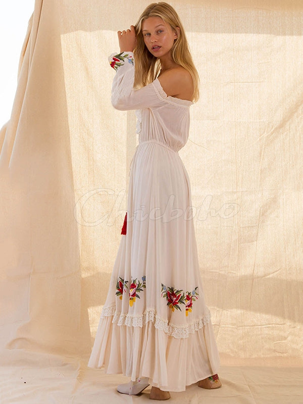 Heavy Work Embroidered One-shoulder Dress