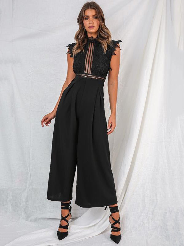 Fashion Lace Wide Leg Jumpsuit