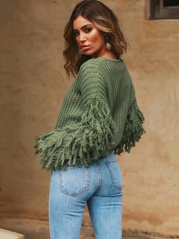 Round-neck Long Sleeves Tasseles Sweater Tops
