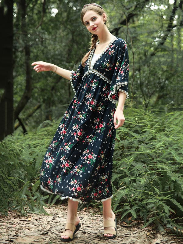 National V-Neck Loose Flared Sleeves Bohemia Dresses
