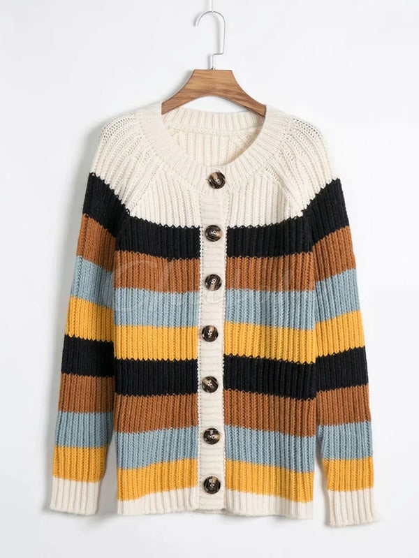 Colorful Striped Cardigan Round-neck Sweater
