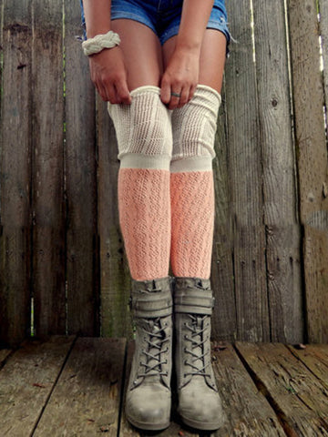 Knitting Over Knee-high Stocking