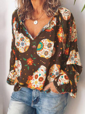 Long-sleeved Casual Printed Blouse