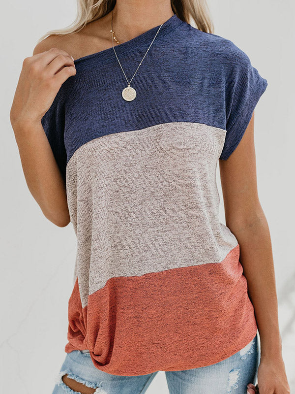Batwing Sleeves Color Block Outwear