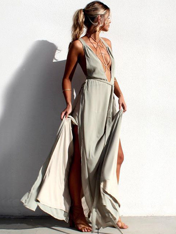 Beautiful Bohemia V-Neck Floral Solid Color Maxi Dress