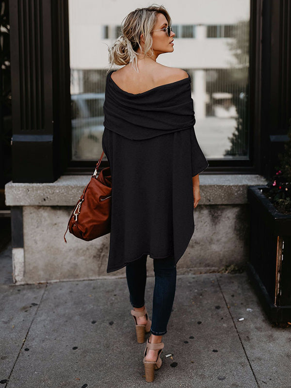 Asymmetric Solid Blouses&shirts Tops