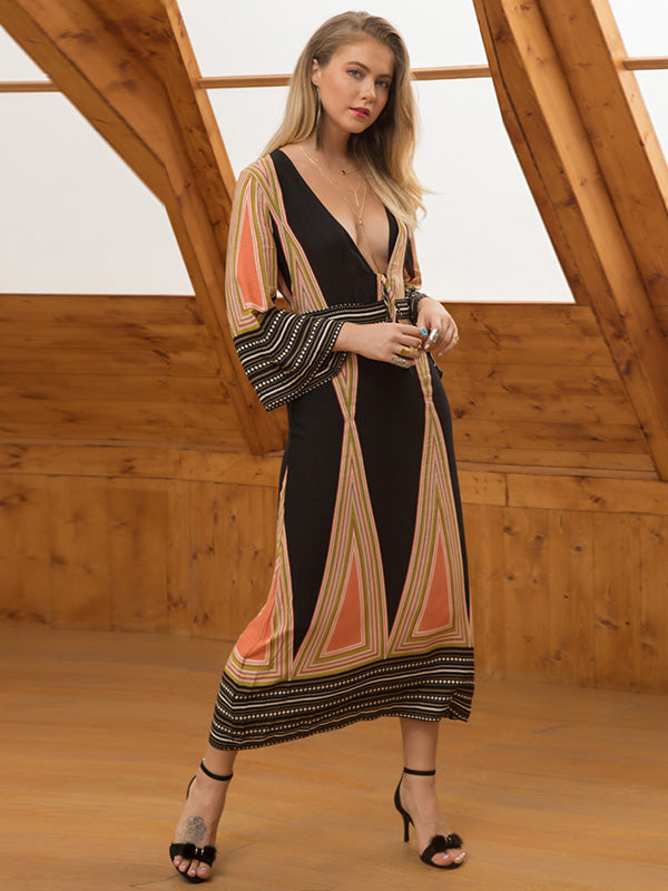 Bohemia Deep V-neck Beach Maxi Dress