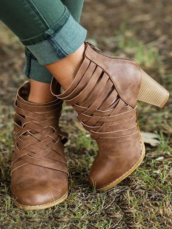 Fashion Bandage Mid-heel Ankle Boots Shoes