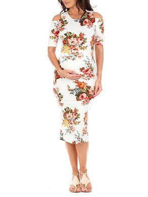 Casual V-neck Printed Short Sleeve Midi Dress
