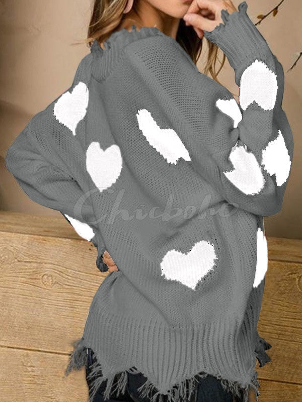Fringed Love Printed V-neck Sweater