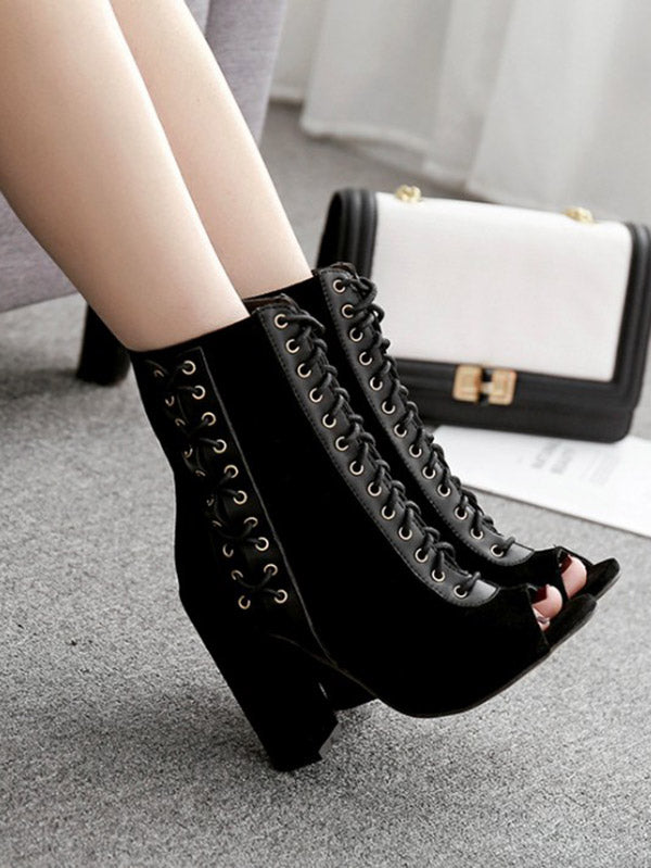 Fashion Peep-toe Cross Strap Heels Shoes