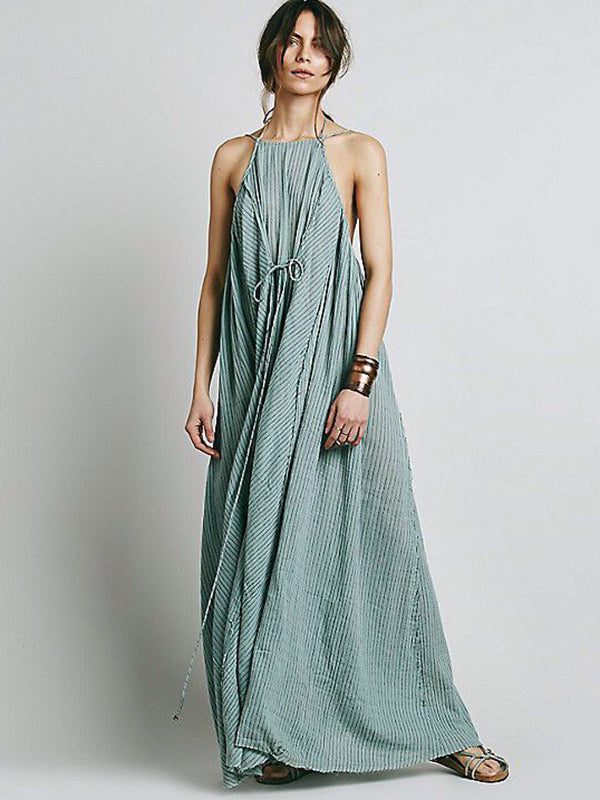 Simple Striped Spaghetti-neck Maxi Dress