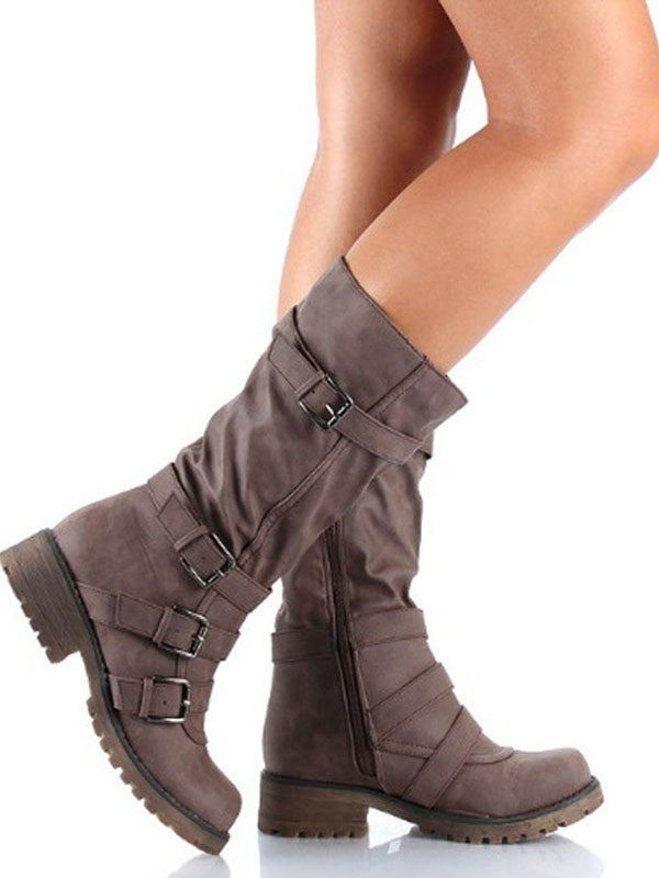 Fashion Low-heel Bandage Boots Shoes