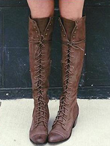 Vintage Low-heel Bandage Boots Shoes