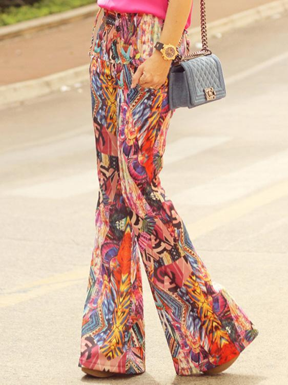Fashion Floral Bell-bottoms Casual Pants
