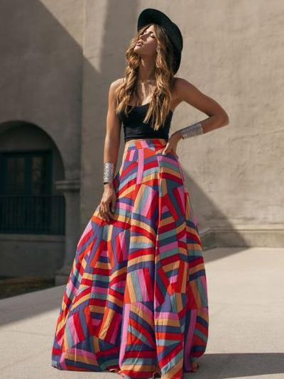 Printed Split-joint Bohemia Skirt Bottoms