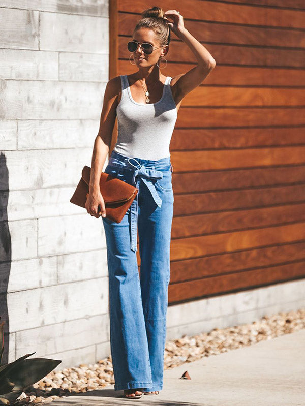 Fashion Blue Bell-bottoms Jean Pants Bottoms