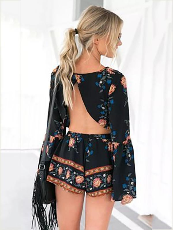 Bohemia Floral Long Sleeves Backless Shorts Suits