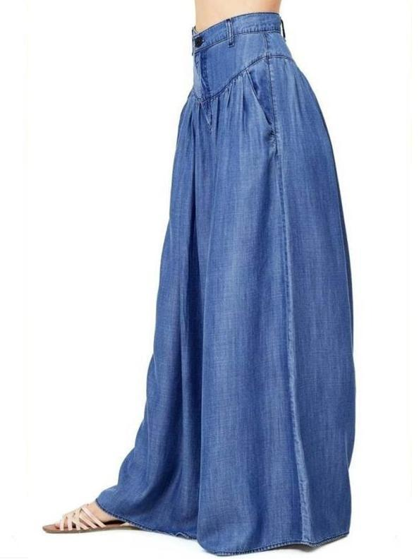 Simple Solid Color Big Hem Wide Leg Bottom Casual Pants